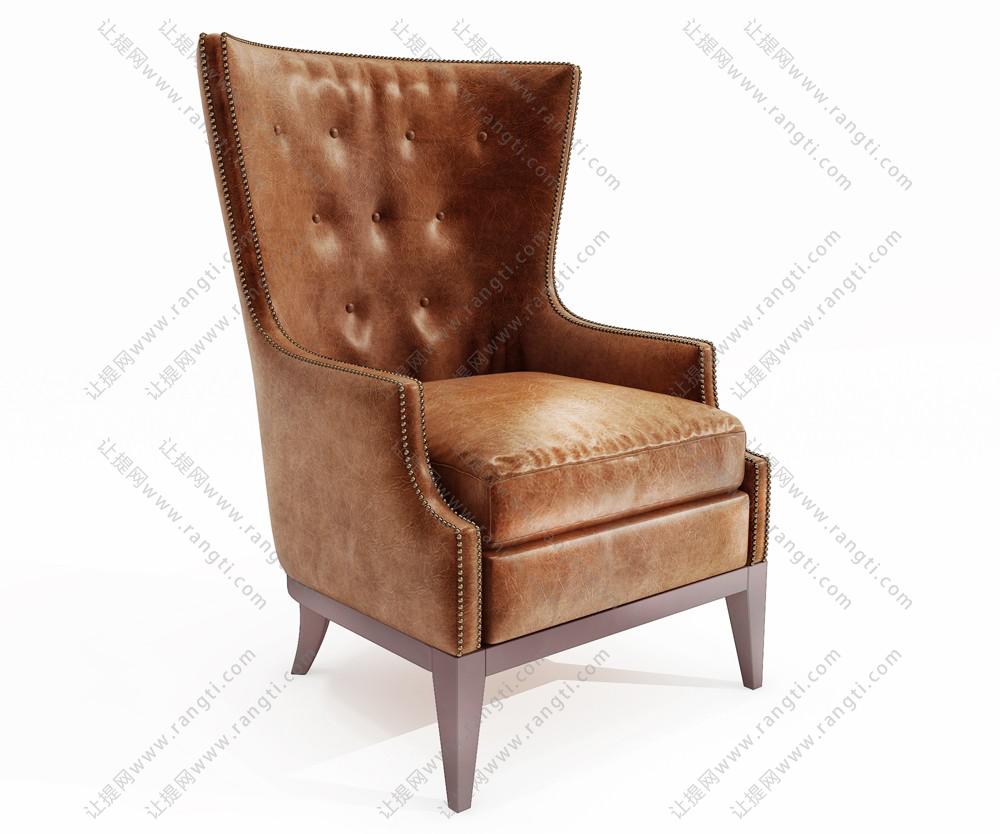 欧式黄色皮革单人沙发椅3d模型