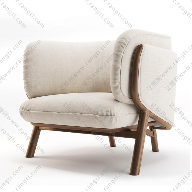 北欧米白色休闲单人沙发3D模型