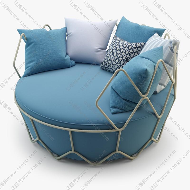 圆形铁艺绿色个性单人沙发3D模型下载
