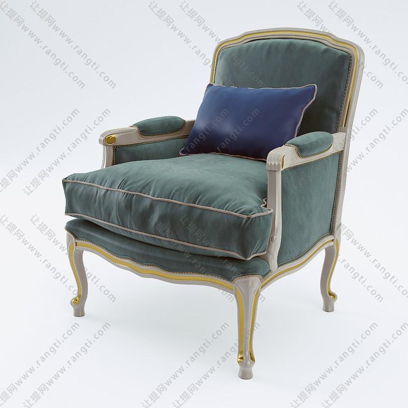 欧式绿色带扶手单人沙发椅3d模型