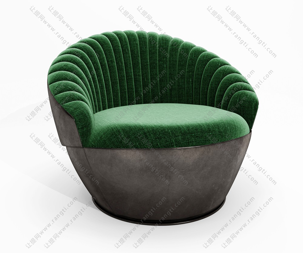 绿色圆形布纹单人沙发3d模型