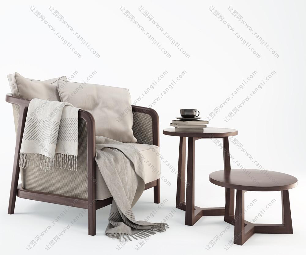 白色布纹新中式单人沙发茶几组合3d模型