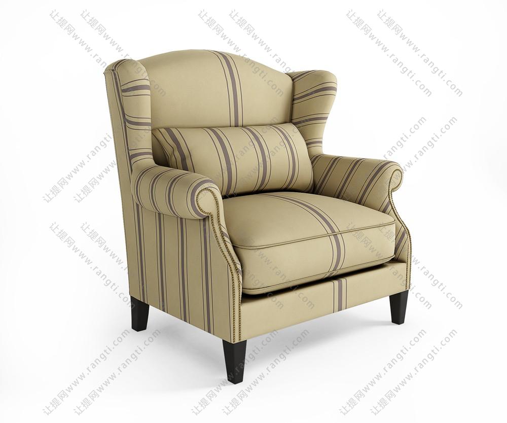 高靠背黄色单人沙发3D模型下载