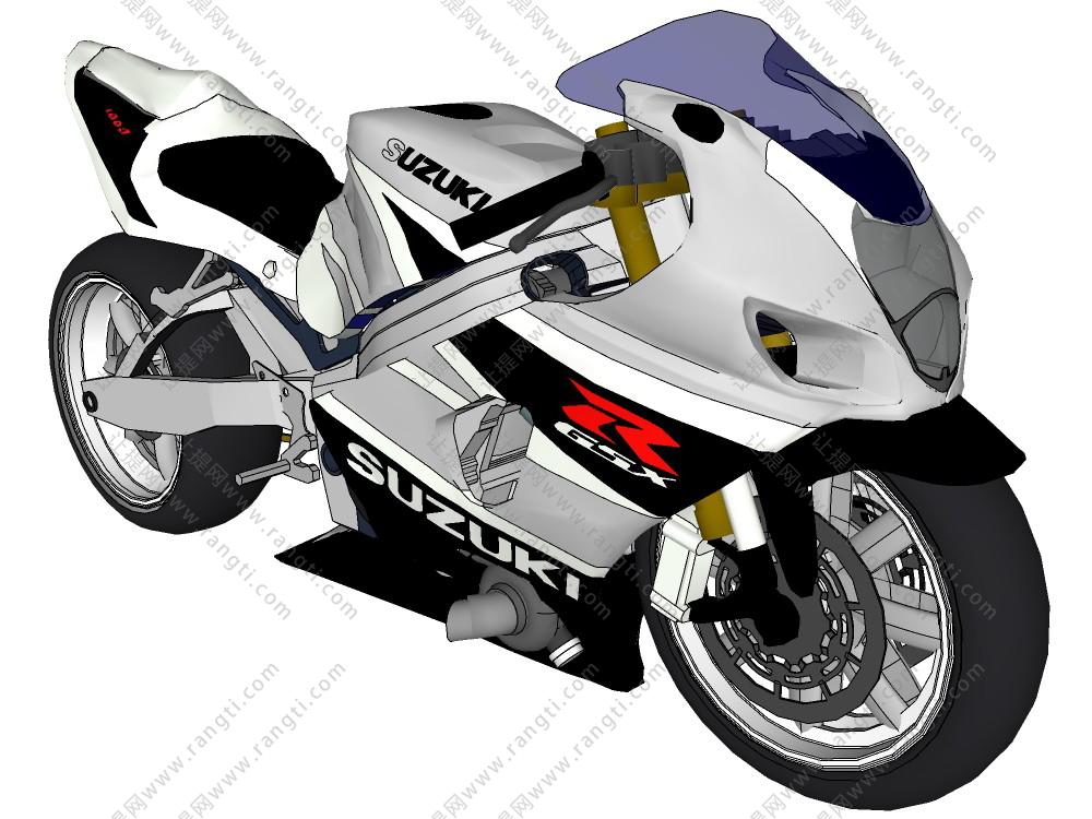 现代摩托跑车SU模型下载