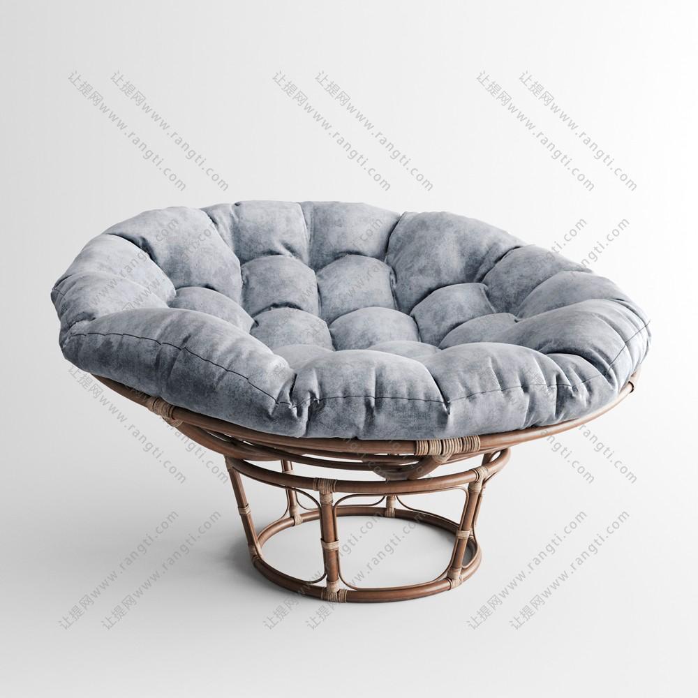 浅灰色圆形金属框单人沙发3D模型