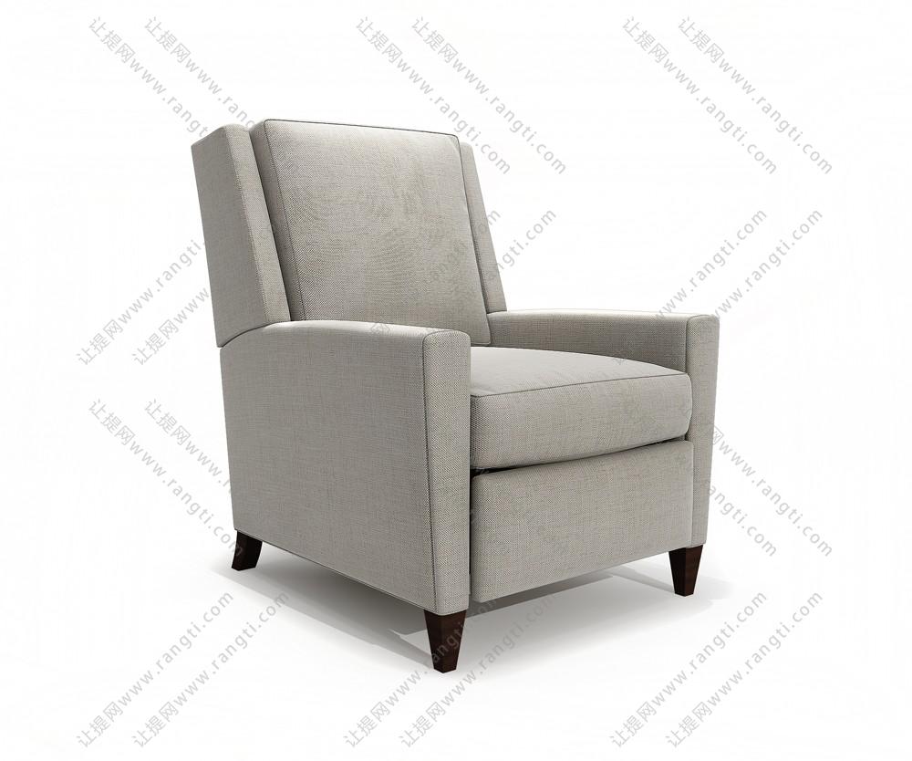高靠背白色布纹单人沙发3D模型下载