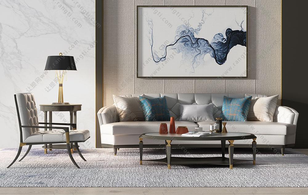 现代简欧古典沙发、茶几和椅子组合3D模型