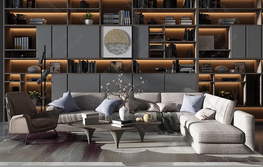现代沙发、茶几、沙发椅和书柜组合3D模型