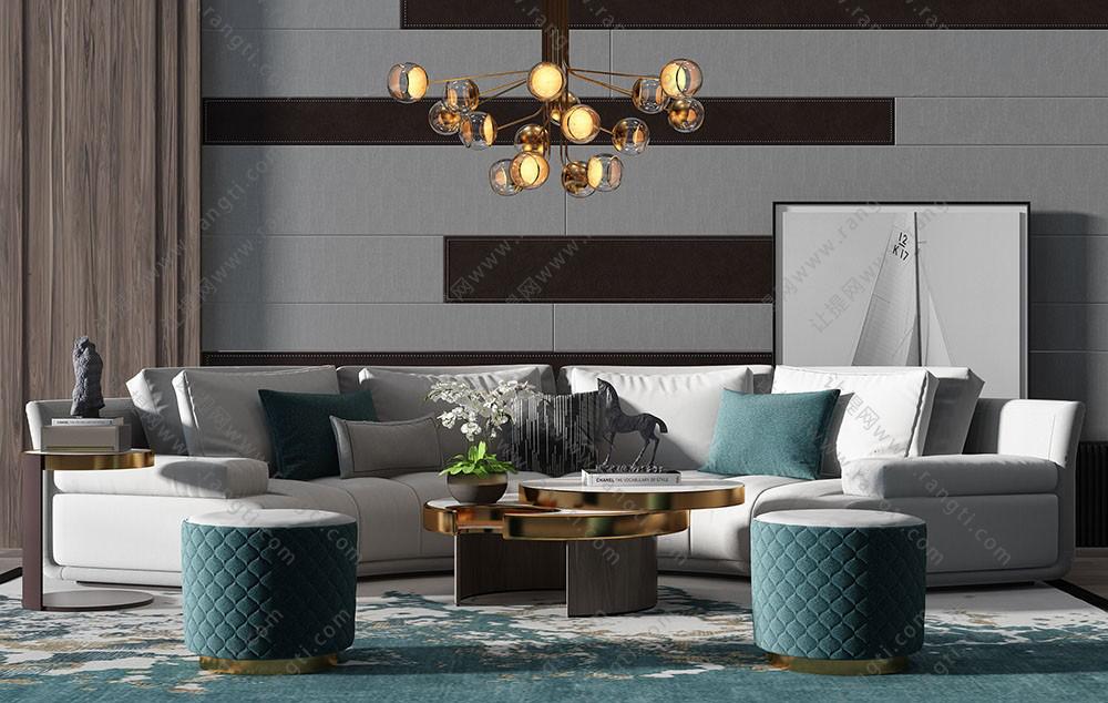 现代轻奢沙发、坐墩和茶几组合3D模型