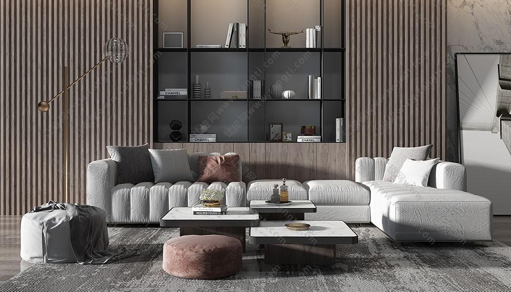 现代沙发、坐墩、茶几和书柜组合3D模型