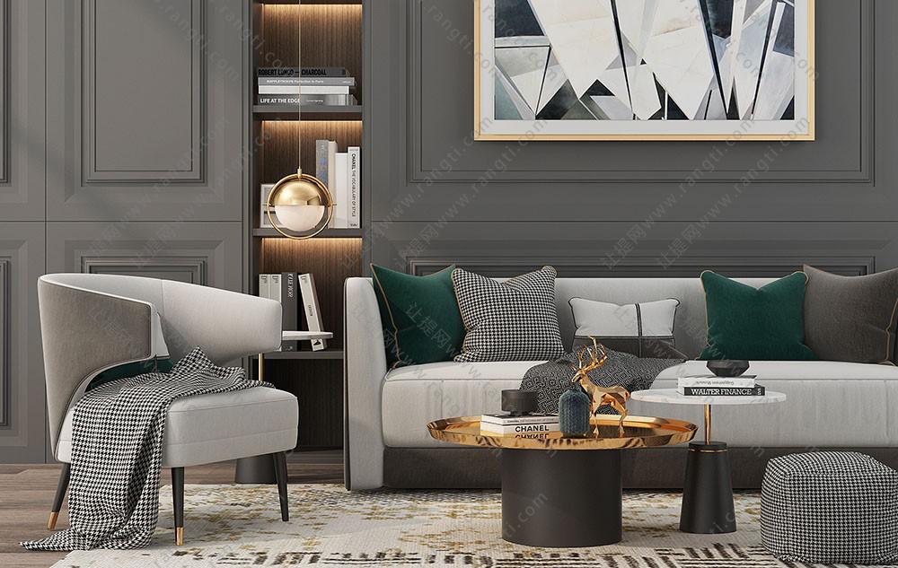 现代简欧轻奢沙发、茶几和抱枕组合3D模型