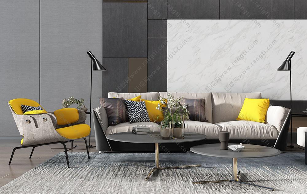 现代沙发、圆形茶几和沙发椅组合3D模型