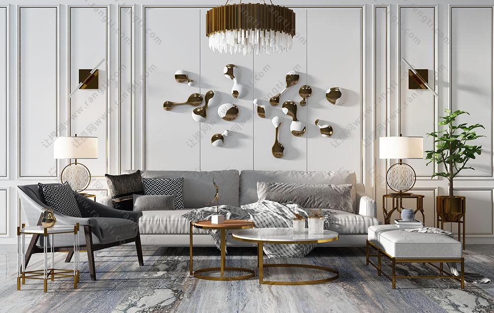 现代轻奢简欧沙发、茶几、墙饰挂件组合3D模型