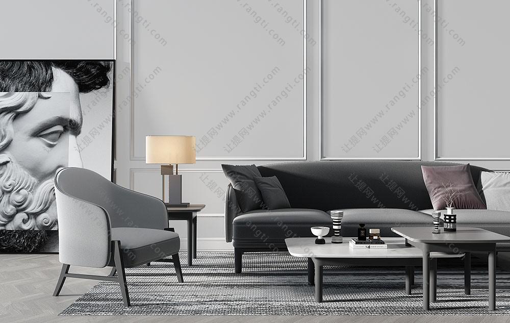 北欧现代沙发、单人沙发和茶几组合3D模型