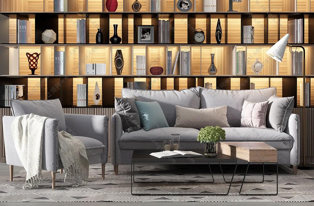 现代北欧沙发、茶几和毛毯组合3D模型