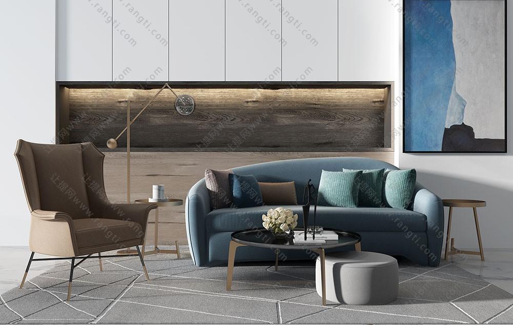 现代简欧沙发、茶几和休闲椅组合3D模型