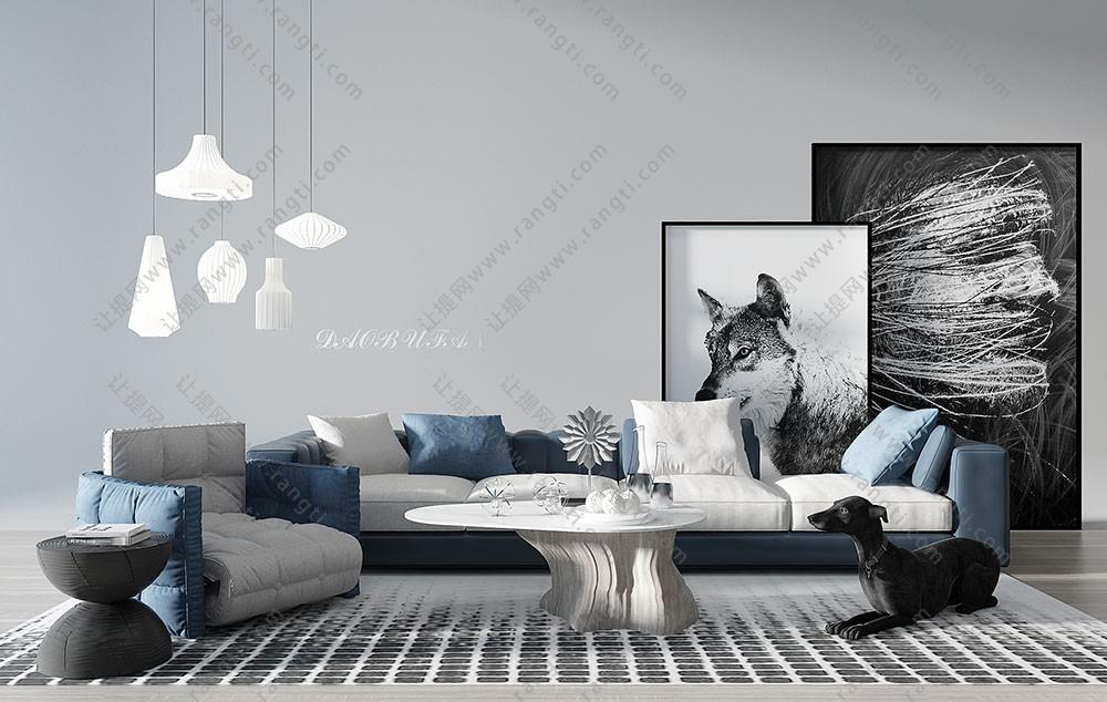 现代布艺沙发、木桩茶几和吊灯组合3D模型