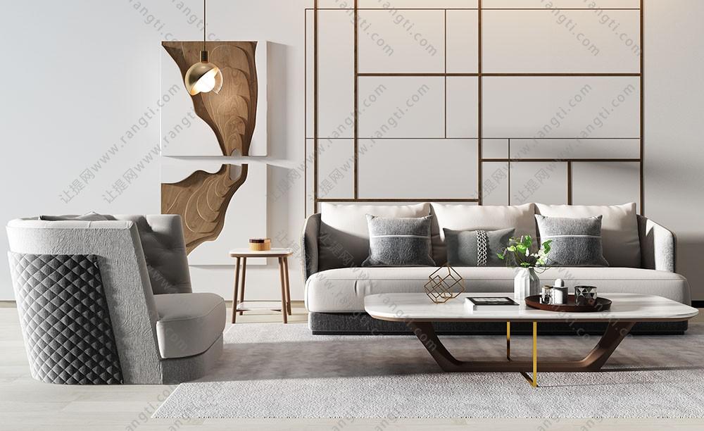 现代沙发、茶几和木板装饰画组合3D模型下载