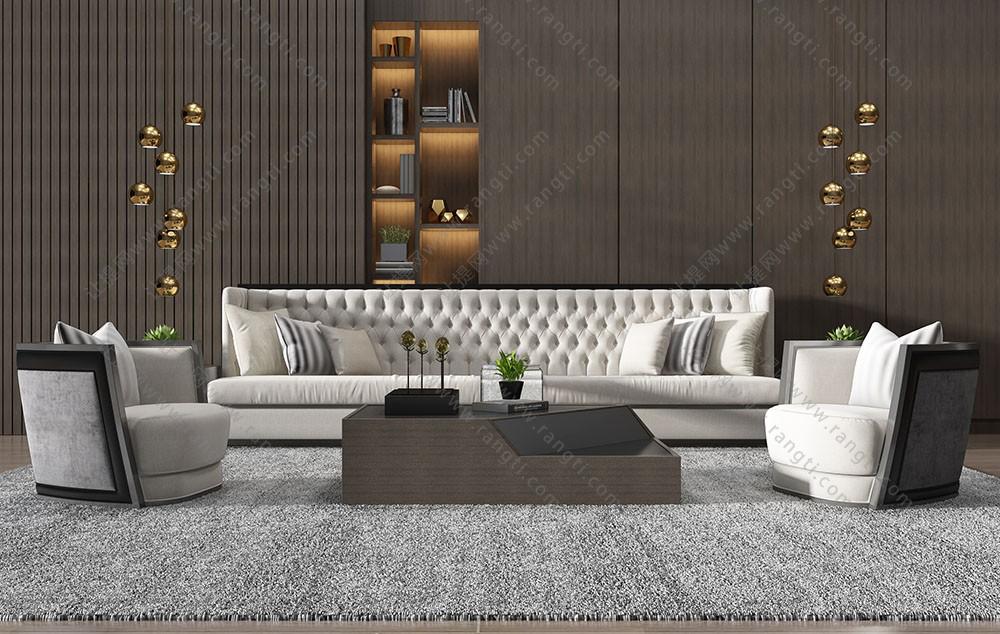 现代简约沙发、休闲椅和茶几组合3D模型下载