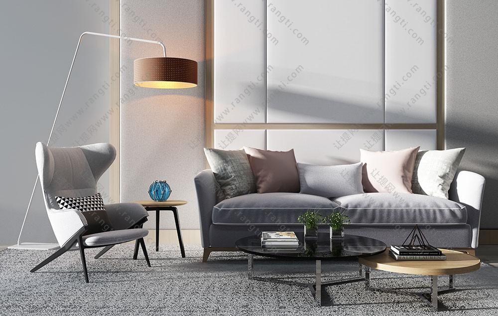 北欧简约沙发、休闲椅和茶几组合3D模型