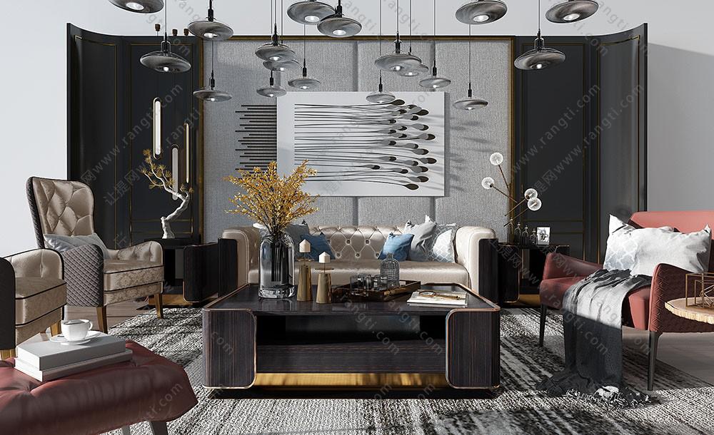 现代简欧古典沙发、茶几组合3D模型