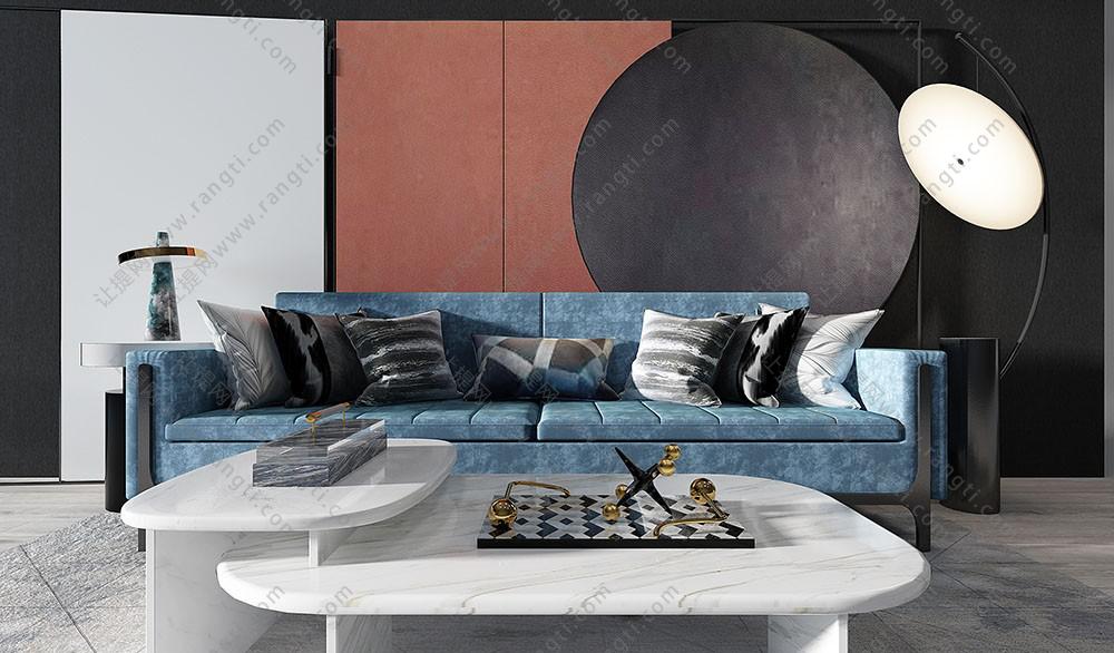 现代沙发、茶几和背景墙组合3D模型
