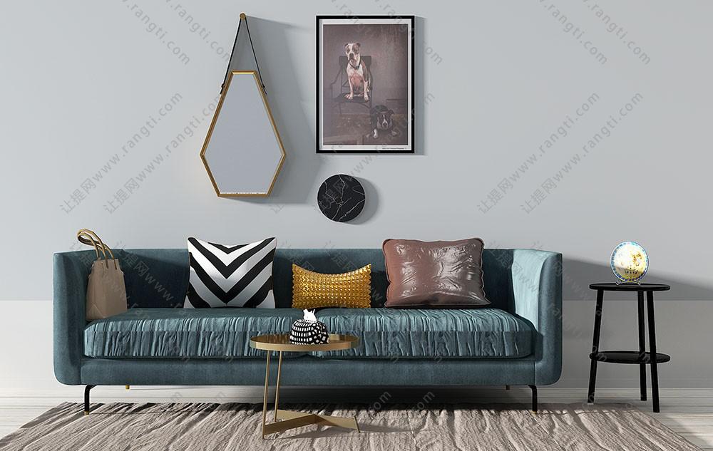 现代简约布艺沙发、茶几组合3D模型