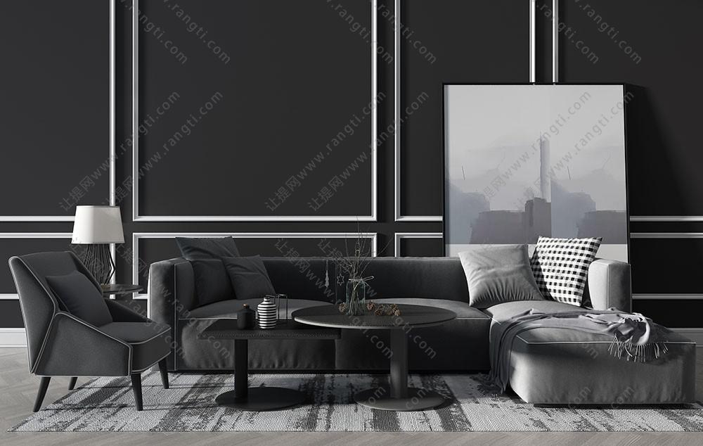 现代沙发、休闲椅及茶几组合3D模型下载
