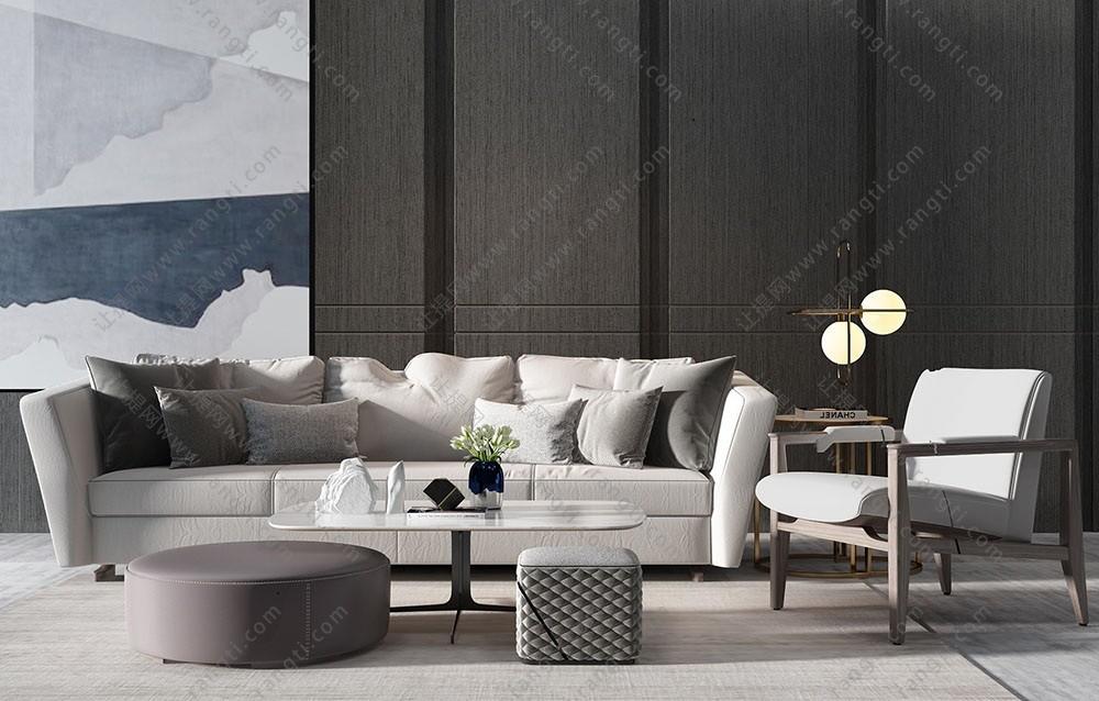 现代简约沙发、茶几、休闲椅及茶几组合3D模型