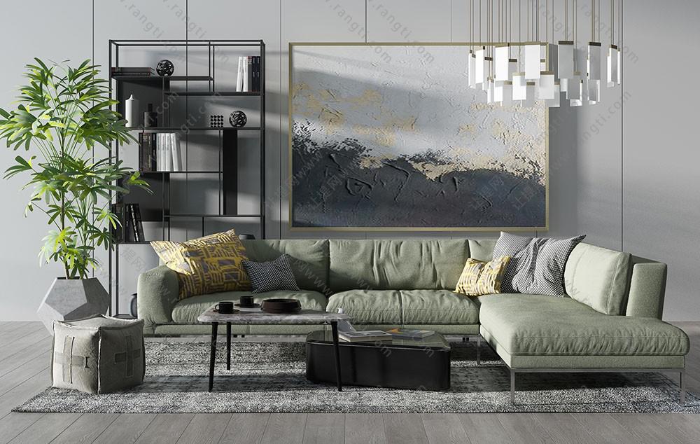 现代转角沙发、茶几、方形坐墩及吊灯组合3D模型下载