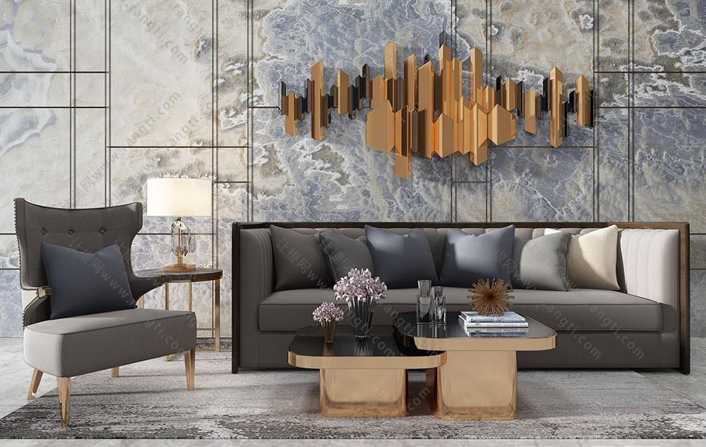 现代简约沙发、休闲椅及茶几组合3D模型