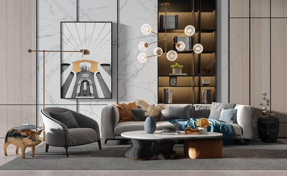 现代北欧沙发、茶几、休闲椅及吊灯组合3D模型