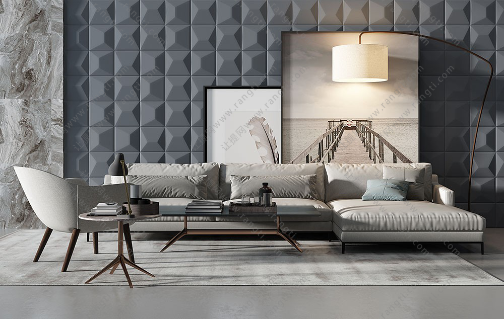 现代转角沙发、茶几及落地灯组合3D模型下载