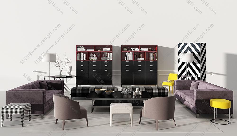 现代沙发、茶几、长方形坐墩及装饰柜组合3D模型