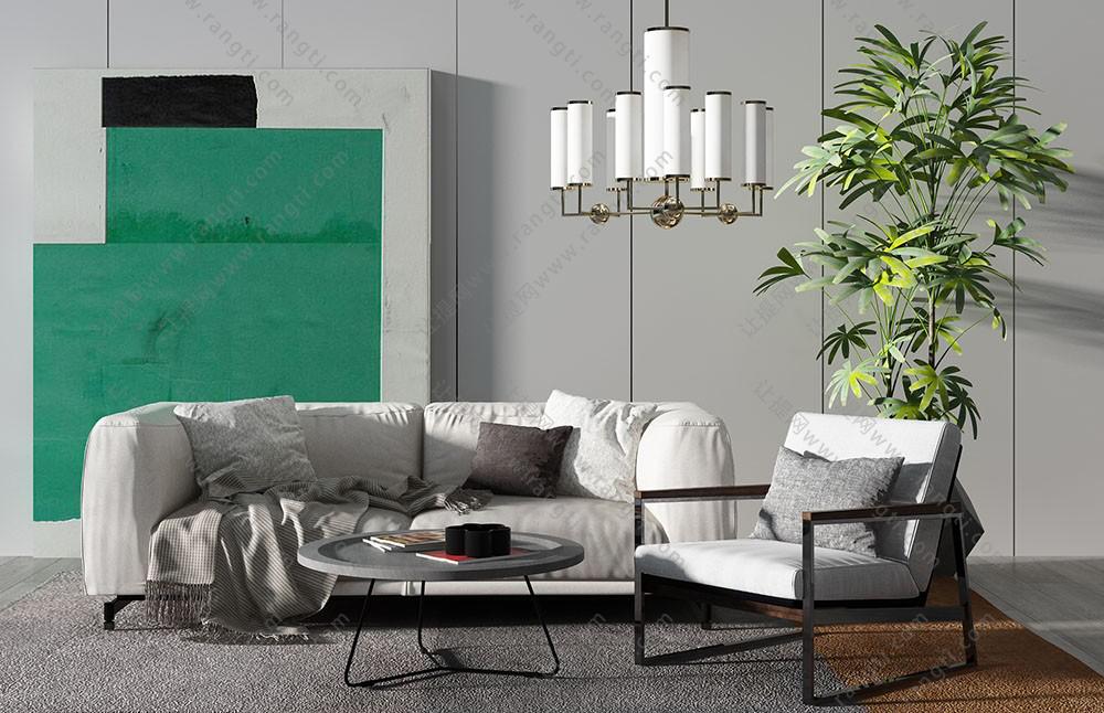 现代北欧沙发、茶几、休闲椅及吊灯组合3D模型下载