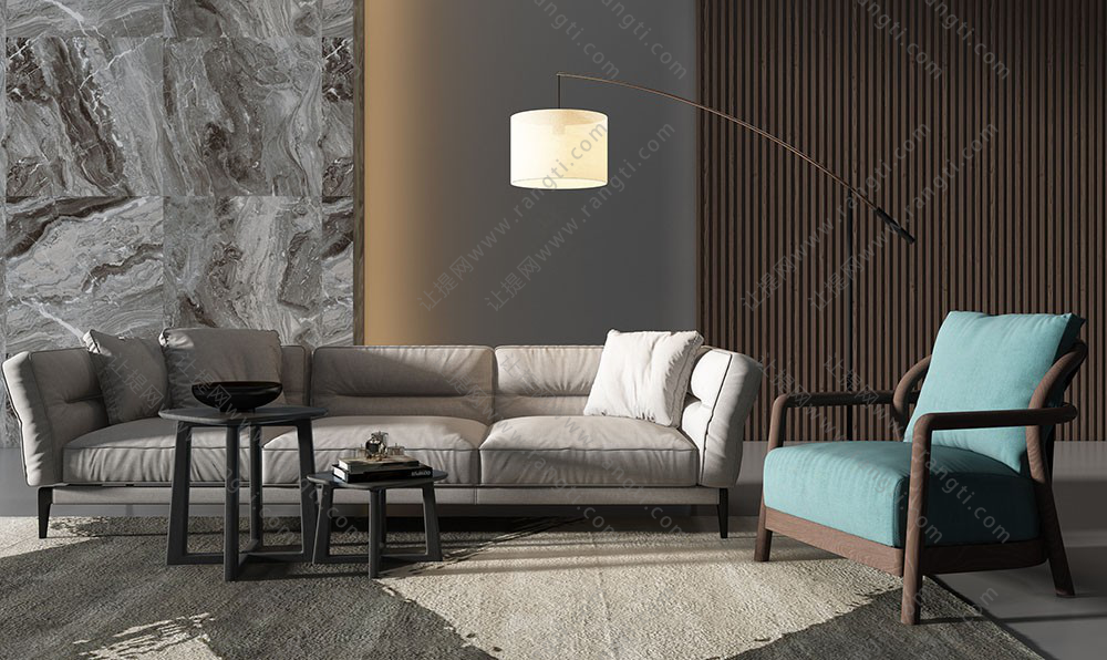 现代沙发、休闲椅、高低茶几组及落地灯组合3D模型