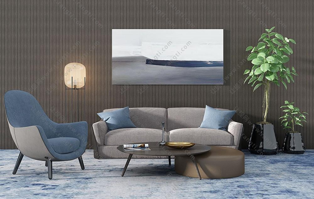 北欧沙发、茶几、休闲椅及皮革坐墩组合3D模型下载