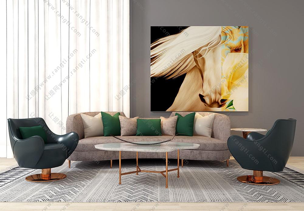 现代轻奢沙发、茶几、休闲椅及落地灯组合3D模型下载