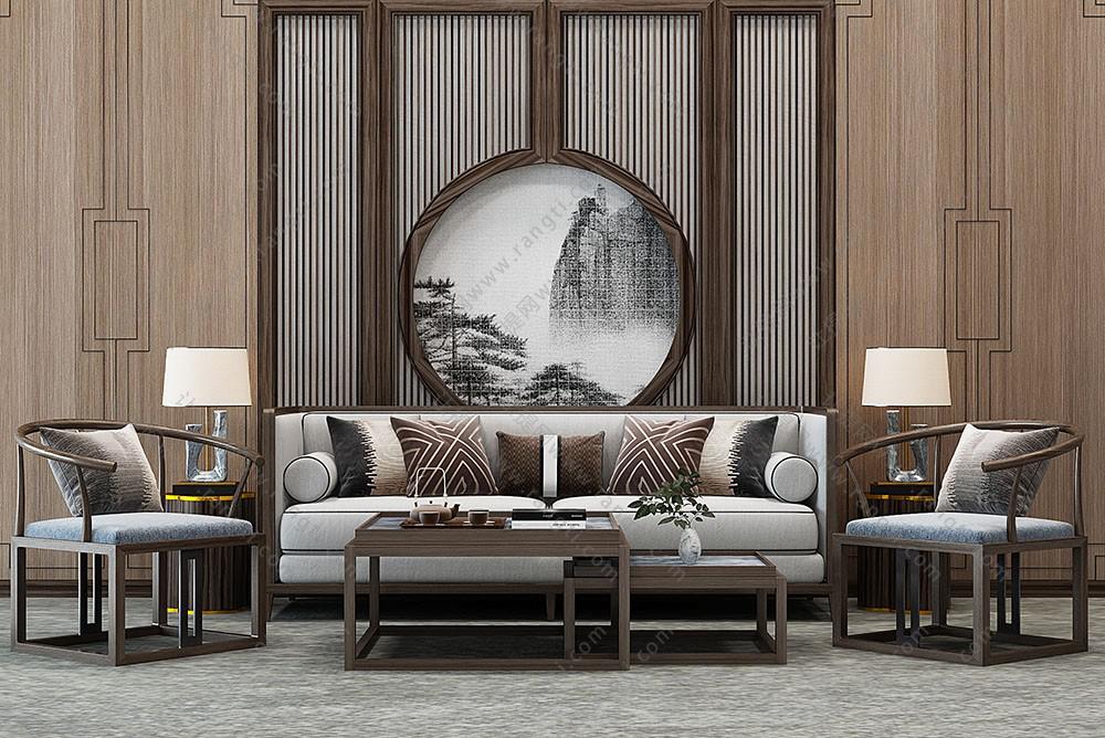 新中式沙发、太师椅、茶几及屏风隔断组合3D模型下载