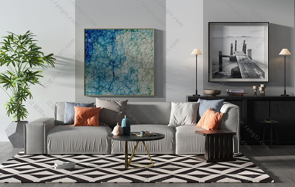 现代沙发、茶几、装饰柜及落地灯组合3D模型