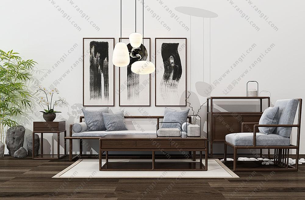 新中式沙发、休闲椅、茶几及边柜组合3D模型下载