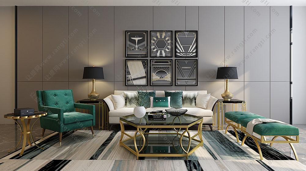 欧式沙发、休闲坐凳、茶几及台灯组合3D模型下载
