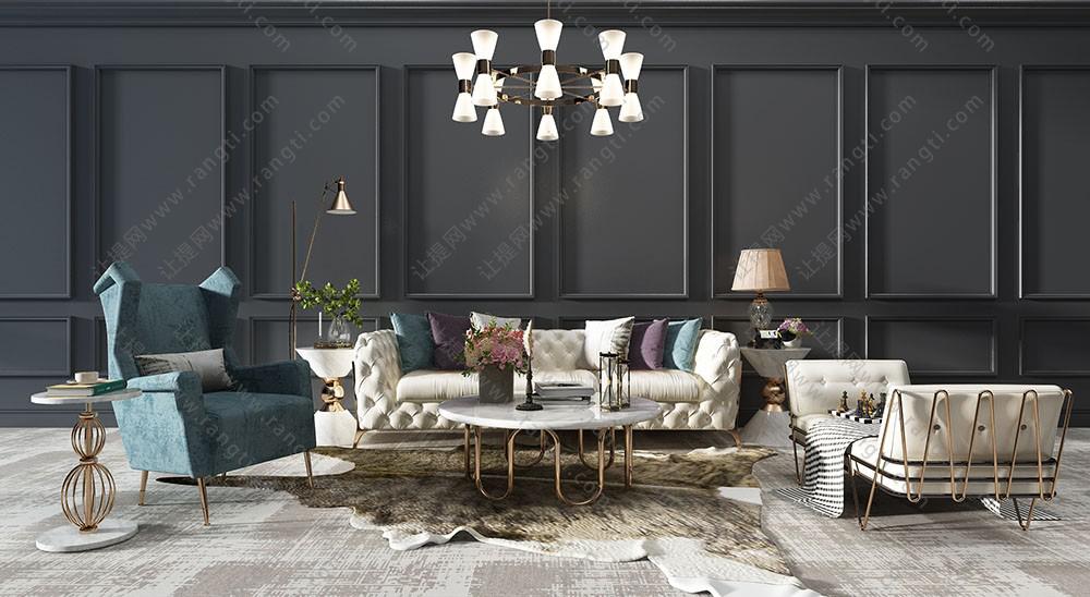 现代简欧皮革沙发、休闲椅、茶几及吊灯组合3D模型