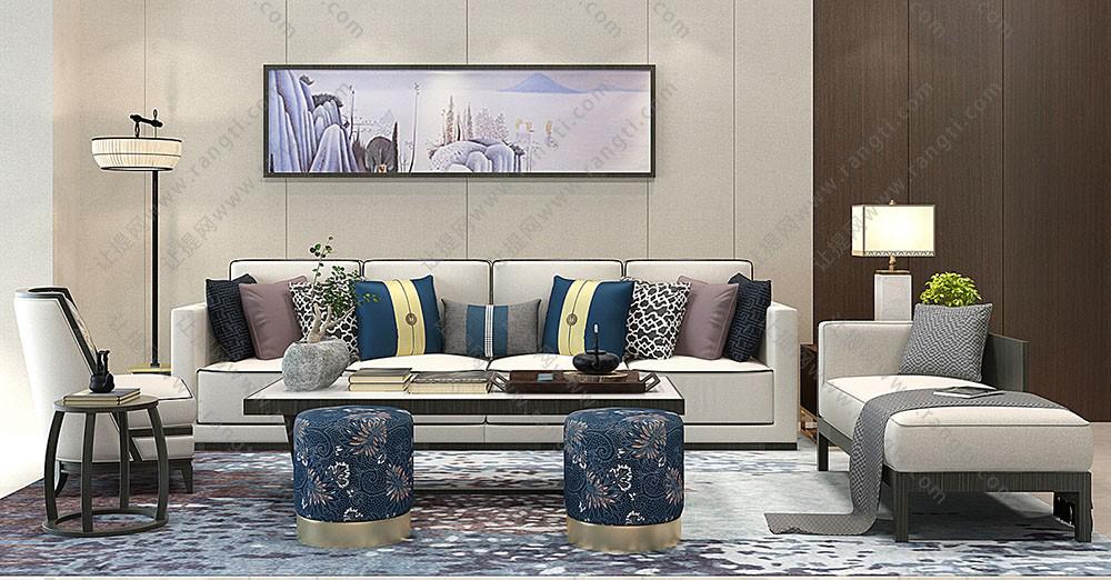 新中式布艺沙发、茶几及沙发凳组合3D模型下载