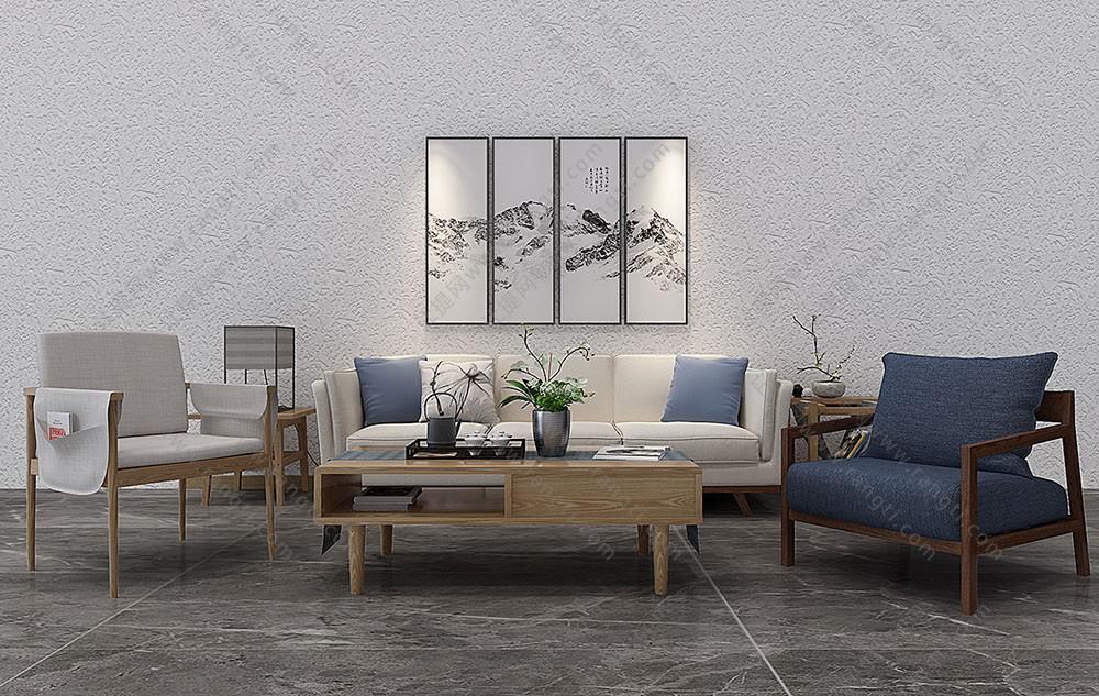 新中式沙发、太师椅、茶几及茶盘组合3D模型