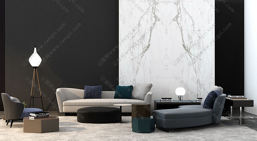 现代沙发、圆形坐墩、六边形边几及茶几3D模型