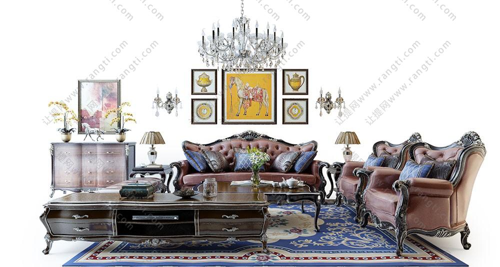 欧式古典沙发、雕花沙发、茶几及边柜组合3D模型下载