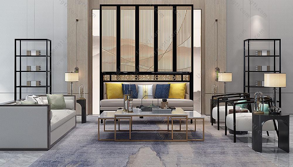 新中式沙发、圈椅、茶几及屏风隔断组合3D模型下载