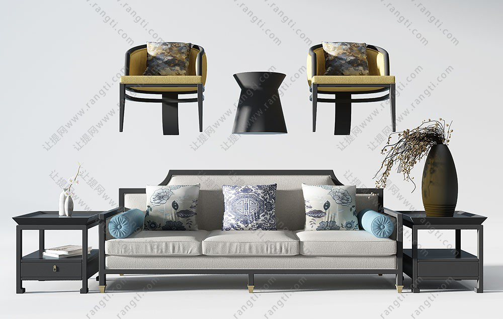 新中式三人沙发、沙发椅、方形和圆形边几组合3D模型