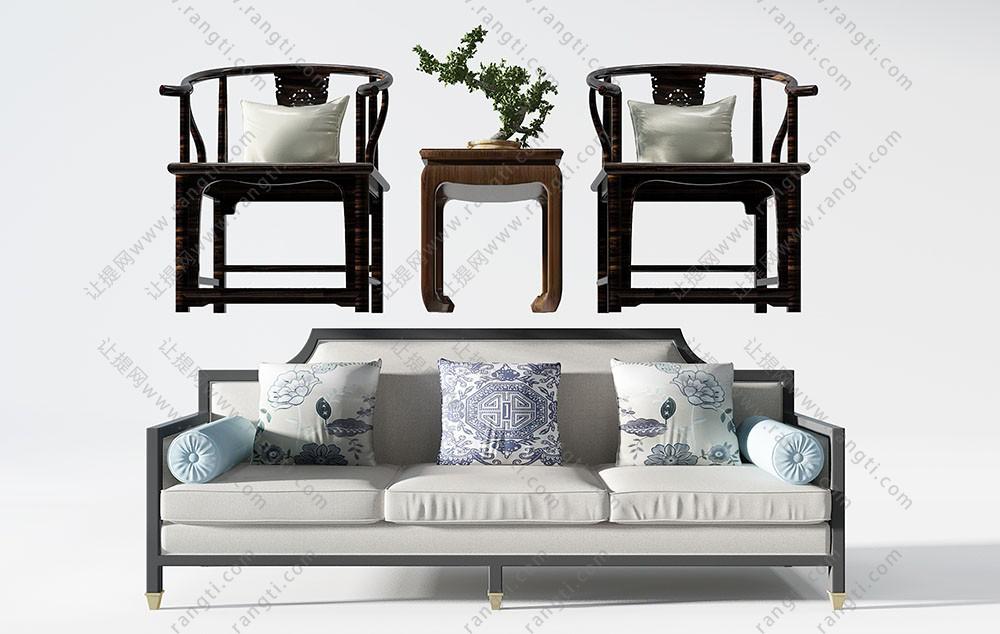 新中式三人沙发和单人沙发、角几组合3D模型